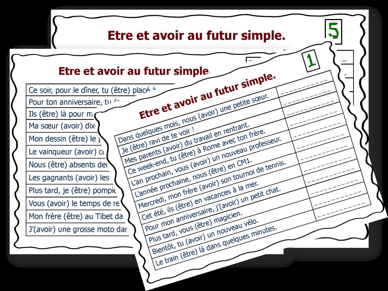 Fiches A Taches Etre Et Avoir Au Futur Simple L Ecole D Ailleurs